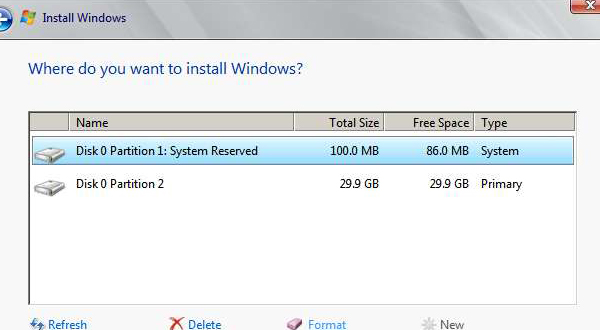 System Reserved Partition 100 MB