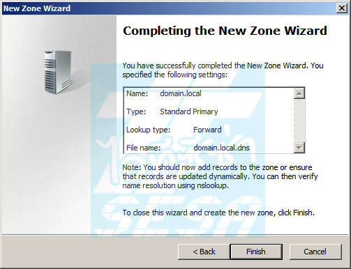 Completing the New Zone Wizard