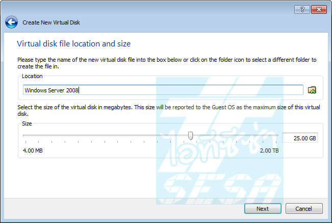 Virtual disk file location and size