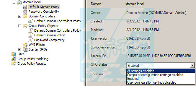 Disable Default Domain Policy
