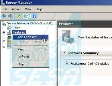 Add WINs Server feature