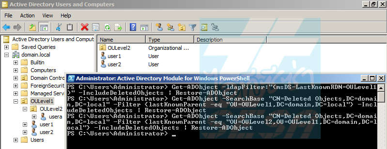 Restore Deleted Object to Active Directory