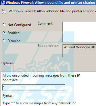 Enable Allow inbound  file and printer sharing exception