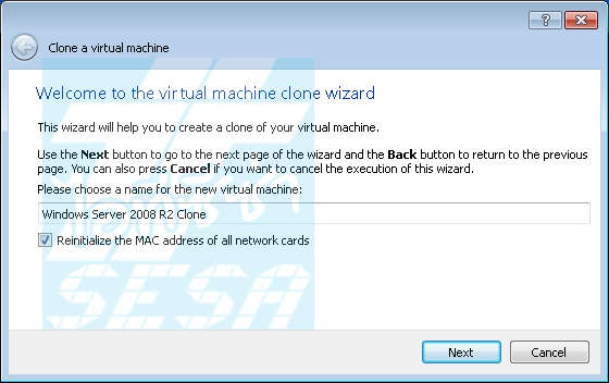 Clone Virtual Machine Wizard