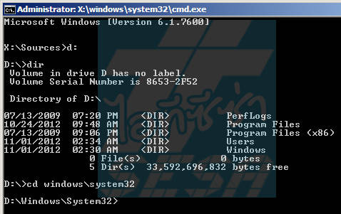 CD to Windows System 32