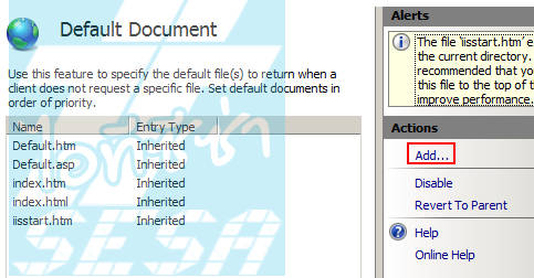 Add Default Document